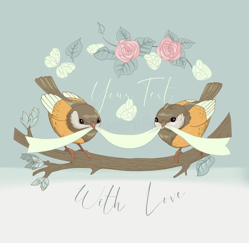 Gulligt kort för fågelpar med tappningblomman Härlig lycklig födelsedag som hälsar det runda banret Vektorpartiinbjudan stock illustrationer