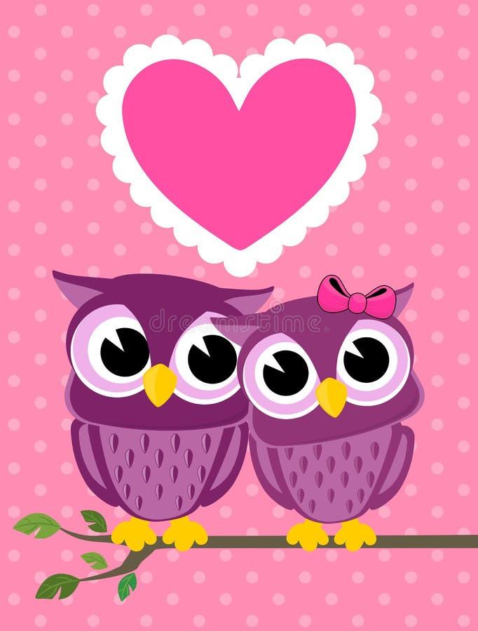 Gulligt kort för hälsning för förälskelsefågelugglor royaltyfri illustrationer
