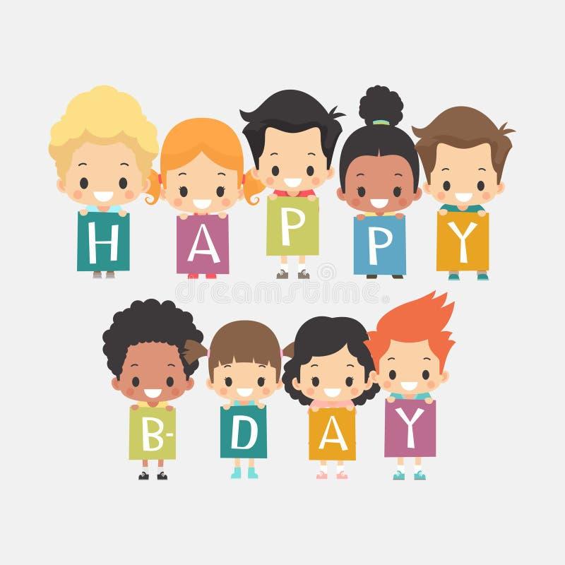 Gulligt kort för lycklig födelsedag för ungar stock illustrationer