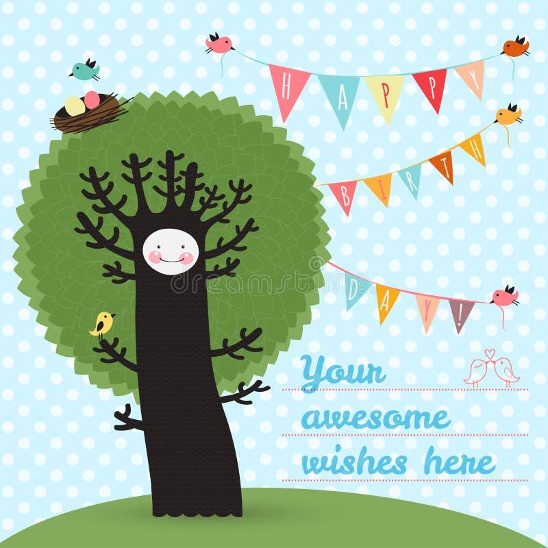 Gulligt kort för lycklig födelsedag med trädet och fåglar Vektor Illustratio royaltyfri illustrationer