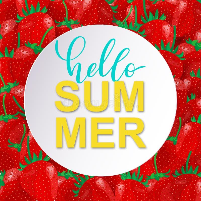 Gulligt kort för vektorHello sommar med söta jordgubbar royaltyfri illustrationer