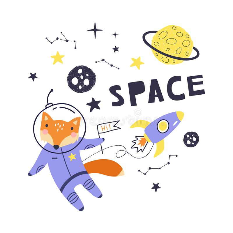 Gulligt kort med rävastronautet, planeter, stjärnor och komet Utrymmebakgrund f?r ungar Vara kan bruk för typografiaffischer, kor stock illustrationer
