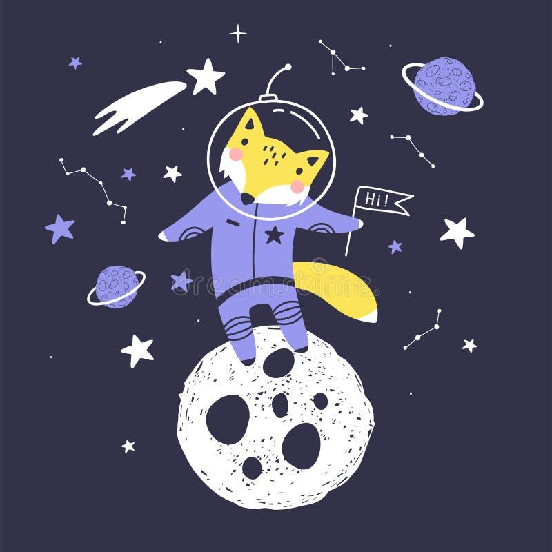 Gulligt kort med rävastronautet, planeter, stjärnor och komet Utrymmebakgrund f?r ungar Vara kan bruk för typografiaffischer, kor vektor illustrationer