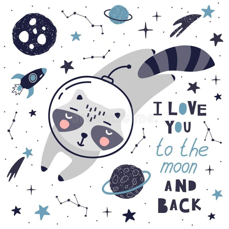 Gulligt kort med tvättbjörnastronautet, planeter, stjärnor och komet Utrymmebakgrund f?r ungar Vara kan bruk för typografiaffisch stock illustrationer