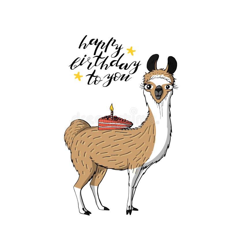 Gulligt lamainnehavstycke av kakan hand som märker lycklig födelsedag till dig bakgrund isolerad white stock illustrationer