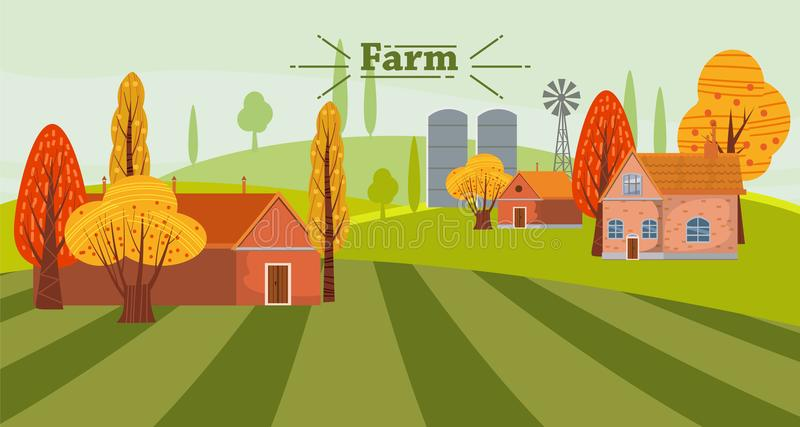Gulligt landskap för Eco lantbrukbegrepp, med huset och lantgårduthus, höst Vektorillustration som isoleras vektor illustrationer