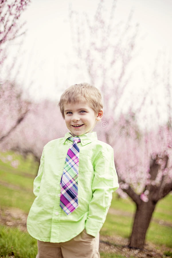 Gulligt le bärande band för pojke i vår arkivbild