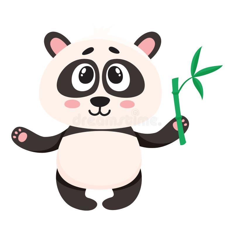 Gulligt le behandla som ett barn pandateckenet som den hållande bambufilialen tafsar in stock illustrationer
