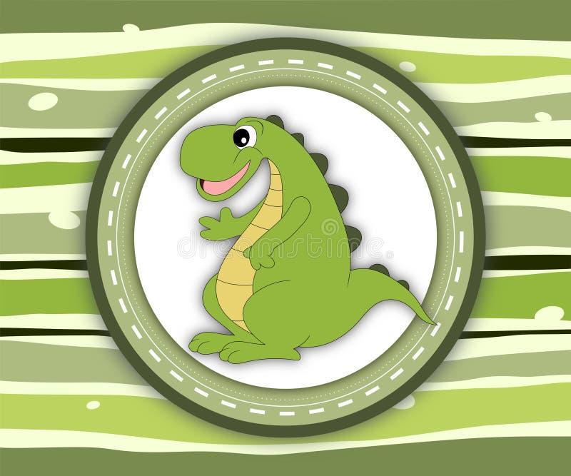 Gulligt le dinosaurieetikettkort vektor illustrationer