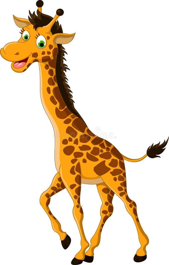 Gulligt le för girafftecknad film stock illustrationer