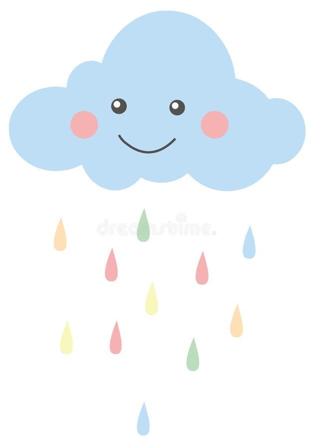 Gulligt le regnmoln, färgregndroppar, barnkammareillustration vektor illustrationer