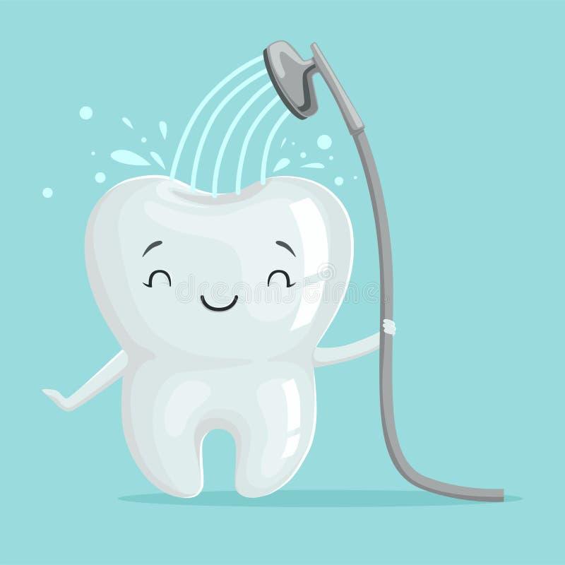 Gulligt le sunt vitt tecknad filmtandtecken som tar en dusch, muntlig tand- hygien, barns begrepp för tandläkekonst vektor illustrationer