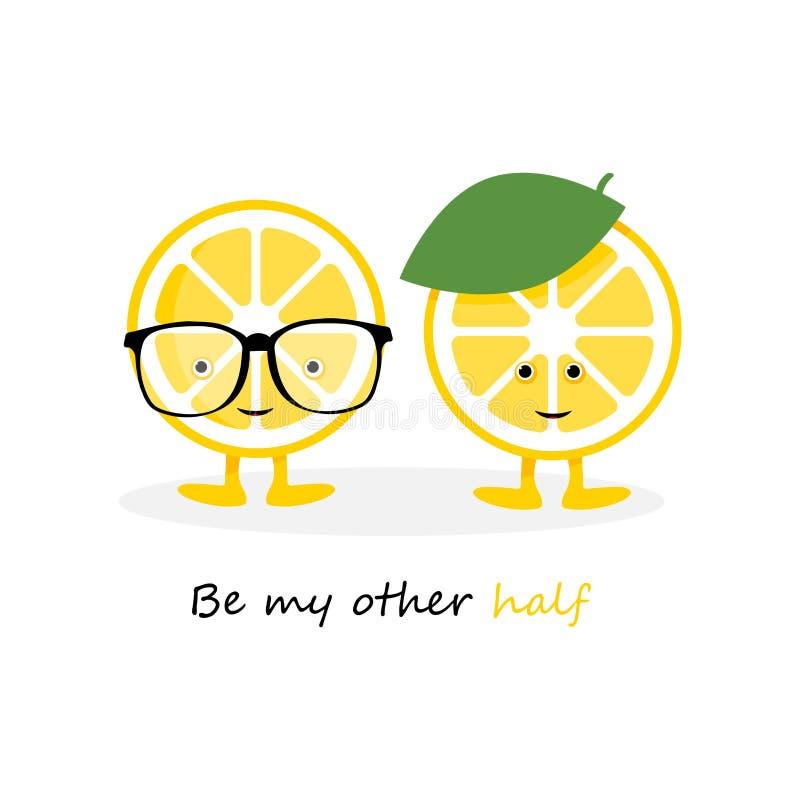 Gulligt leendetecken f?r citron Gul frukt för tecknad film i exponeringsglaskort och hattbakgrund vektor illustrationer
