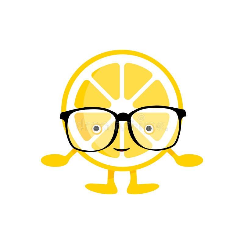 Gulligt leendetecken f?r citron Gul frukt för tecknad film i isolerade exponeringsglas vektor illustrationer