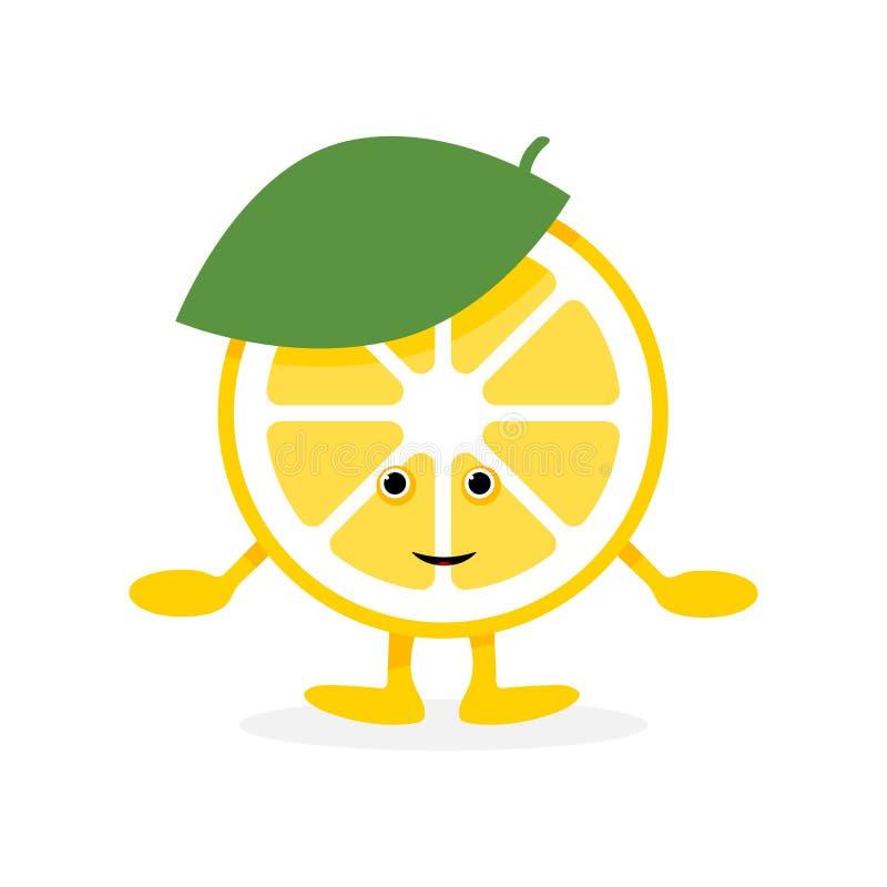 Gulligt leendetecken f?r citron Gul frukt för tecknad film royaltyfri illustrationer