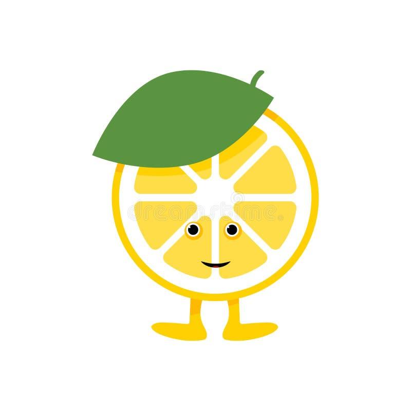 Gulligt leendetecken f?r citron Gul frukt f?r tecknad film som isoleras p? vit bakgrund royaltyfri illustrationer