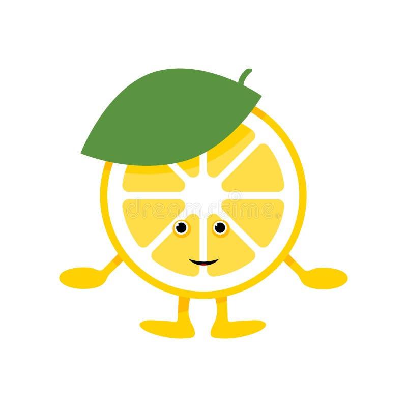 Gulligt leendetecken f?r citron Isolerad gul frukt för tecknad film vektor illustrationer