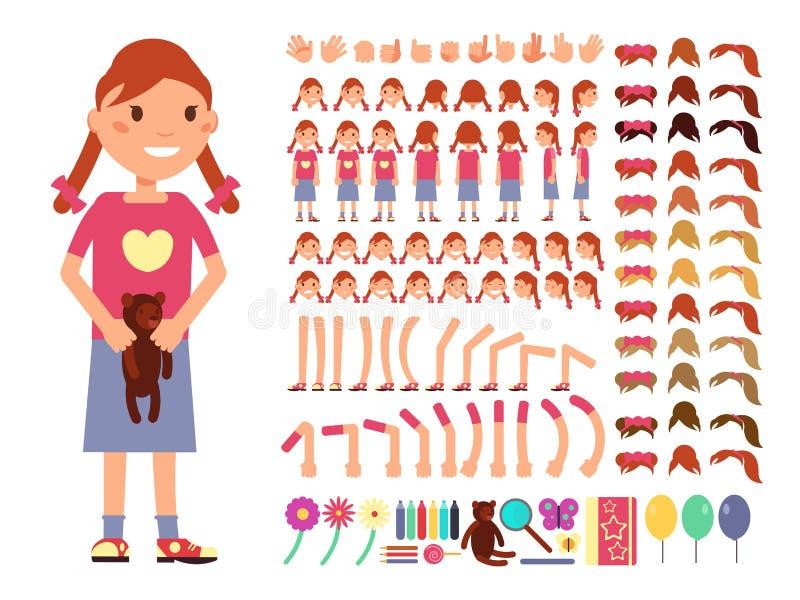 Gulligt liten flickatecken för tecknad film Vektorskapelsekonstruktör med olika sinnesrörelser och kroppsdelar royaltyfri illustrationer