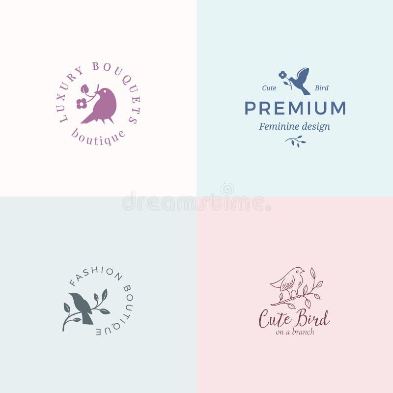 Gulligt litet fågelvektortecken eller Logo Templates Set Flott typografi, fåglar och blommor Högvärdigt kvalitets- kvinnligt vektor illustrationer