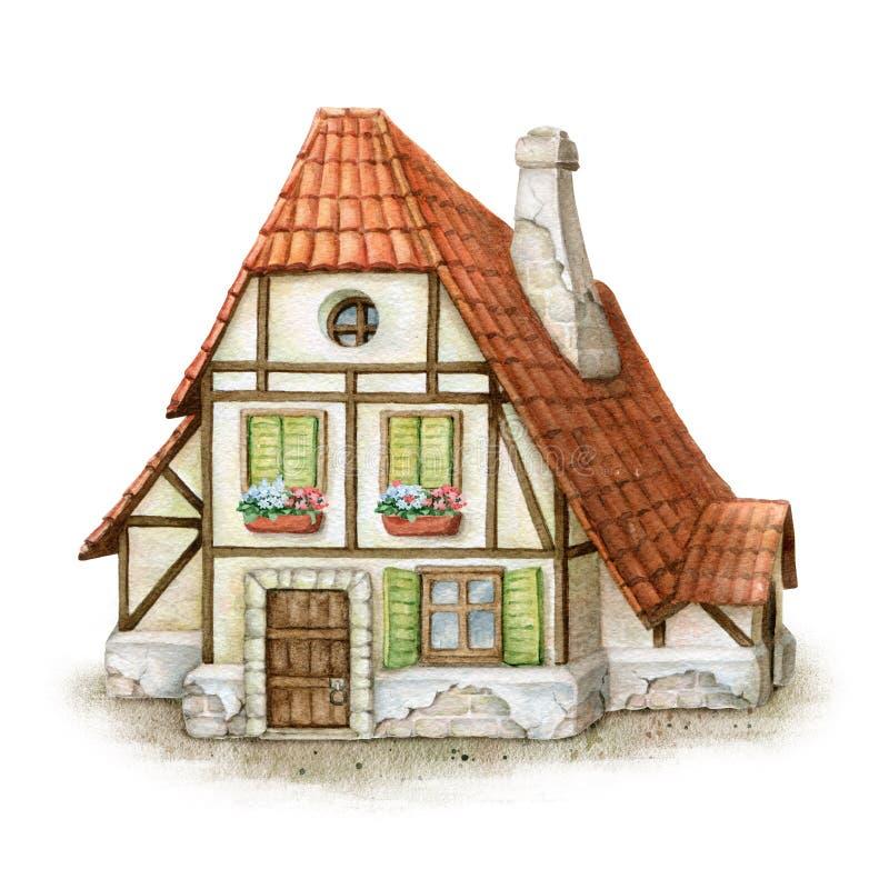Gulligt litet hus för vattenfärg stock illustrationer