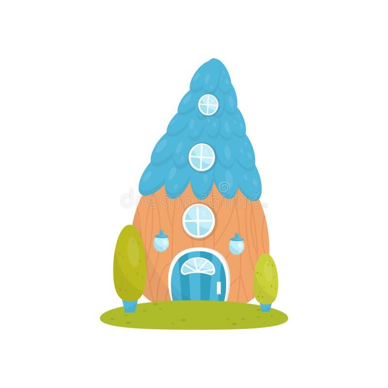 Gulligt litet hus med blåtttaket, sagafantasihus för den gnom-, dvärg- eller älvavektorillustrationen på en vit royaltyfri illustrationer