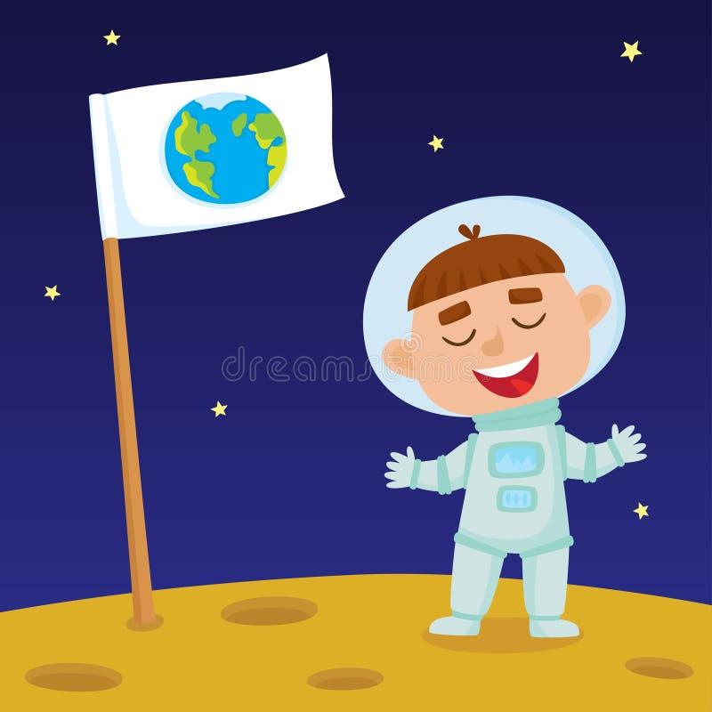 Gulligt litet lyckligt pojkeastronautanseende på månen med jordflaggan royaltyfri illustrationer