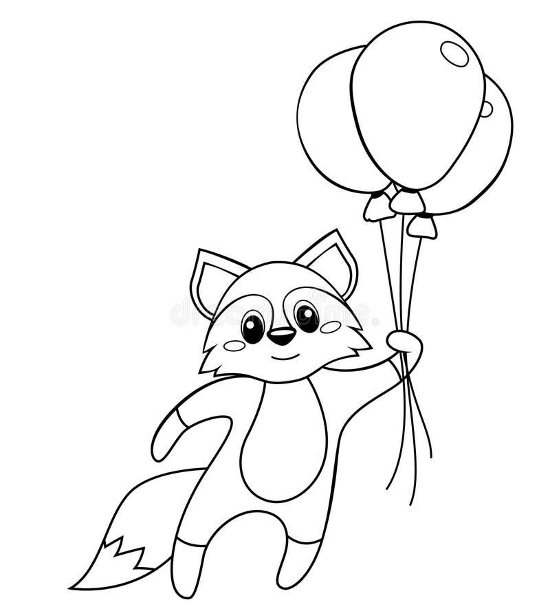 Gulligt litet rävflyg med ballonger Svartvit vektorillustration för färgläggningbok royaltyfri illustrationer