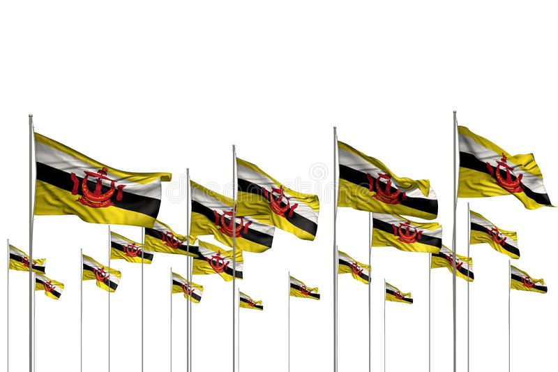 Gulligt många bruneiska flaggor i rad som isoleras på vit med tomt utrymme för innehållet - någon illustration för festmåltidflag royaltyfri illustrationer