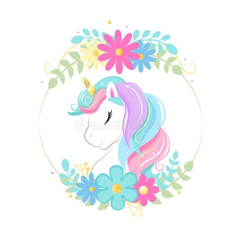 Gulligt magiskt tecknad filmenhörninghuvud med ramen av blommor children illustration royaltyfri illustrationer