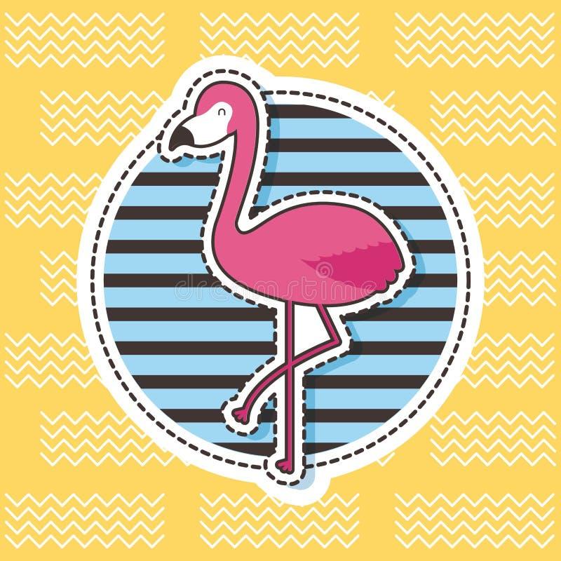Gulligt mode för band för emblem för lappflamingorunda vektor illustrationer
