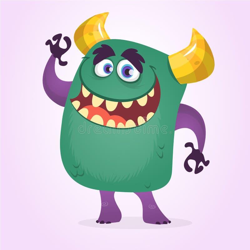 Gulligt monster för lycklig gullig tecknad film Vinka för tecken för vektor gigantiskt stock illustrationer