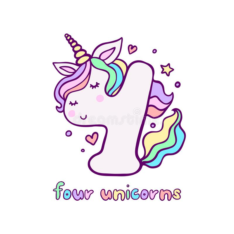 Gulligt nummer fyra Unicorn Character Vector Illustration royaltyfri illustrationer