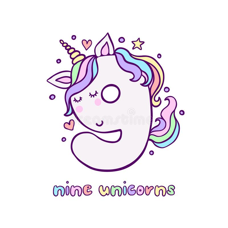 Gulligt nummer nio Unicorn Character Vector Illustration stock illustrationer