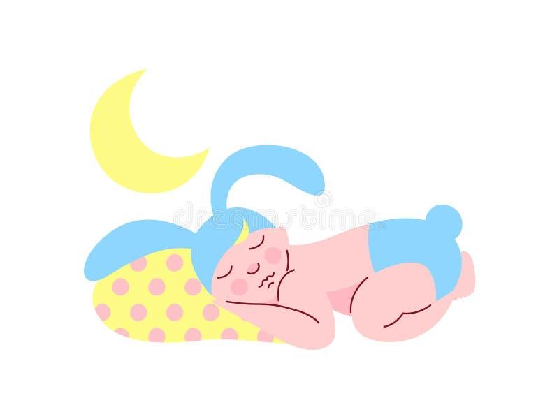 Gulligt nyfött behandla som ett barn i ljus - blått Bunny Cap och blöjan som sover på nattvektorillustrationen stock illustrationer