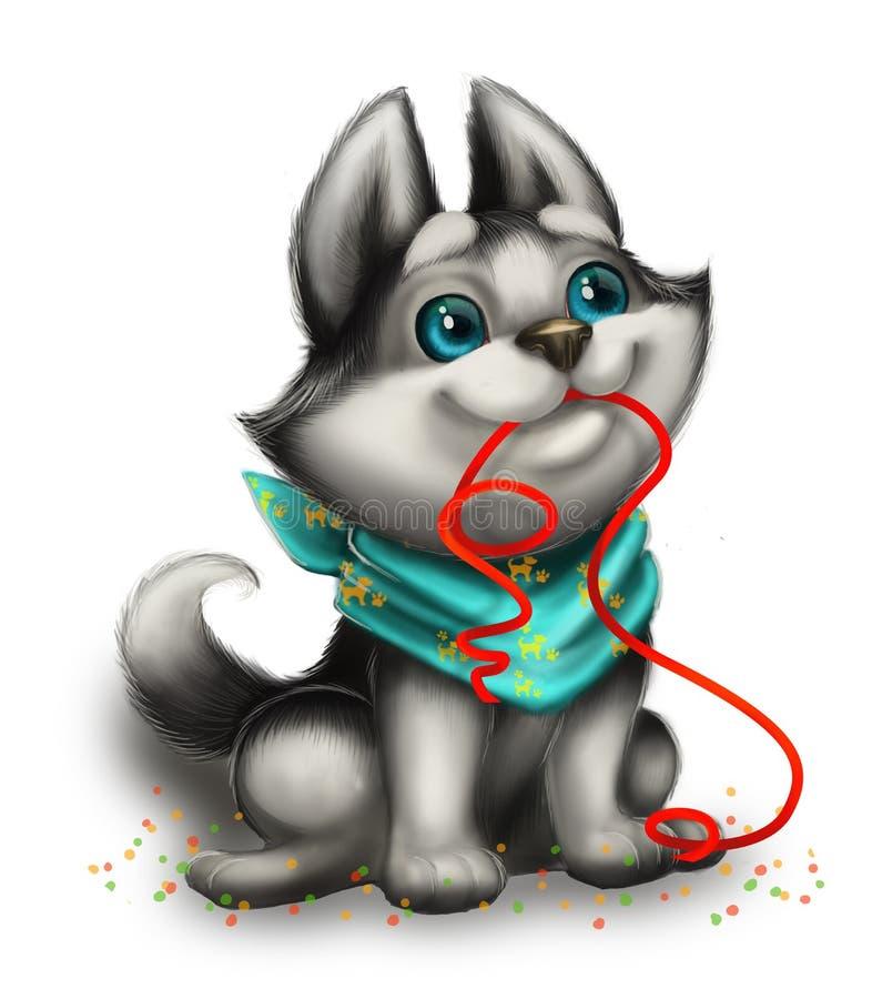 Gulligt och att le och älska Husky Puppy Playing med Toy Ribbon - lyckliga ferier - Hand-dragit tecknad filmtecken stock illustrationer