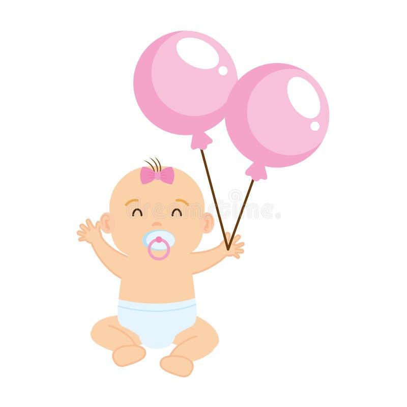 Gulligt och lilla flickan behandla som ett barn med ballonghelium vektor illustrationer