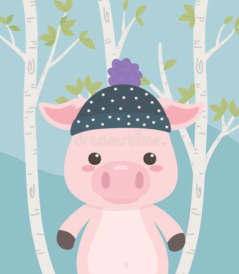 Gulligt och litet svin i fältet royaltyfri illustrationer