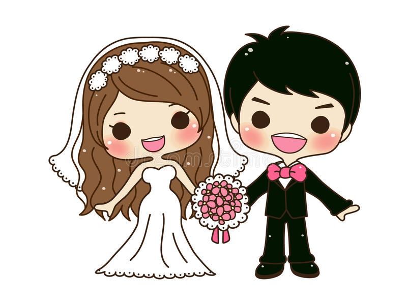 Gulligt parbröllop royaltyfri illustrationer