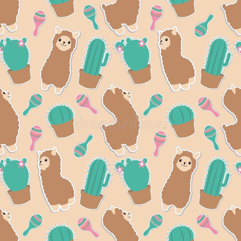 Gulligt pastellfärgat kulört tecknad filmdjur för Alpaca eller för lama med den sömlösa grafiska illustrationmodellen för kakturs vektor illustrationer
