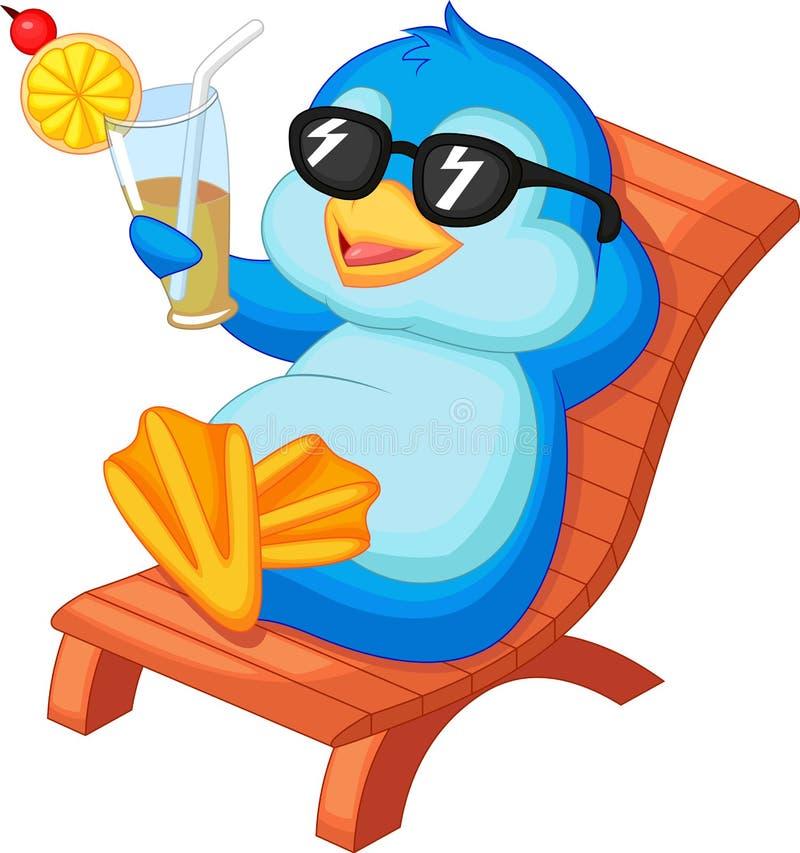 Gulligt pingvintecknad filmsammanträde på strandstol royaltyfri illustrationer