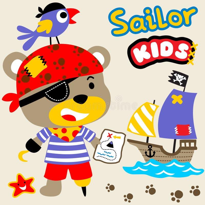Gulligt piratkopiera royaltyfri illustrationer
