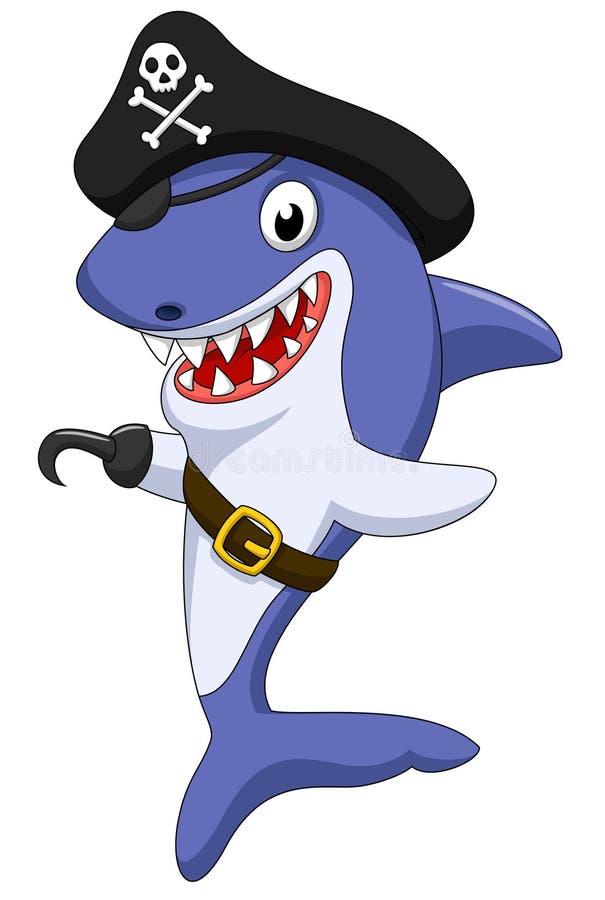 Gulligt piratkopiera hajtecknade filmen royaltyfri illustrationer