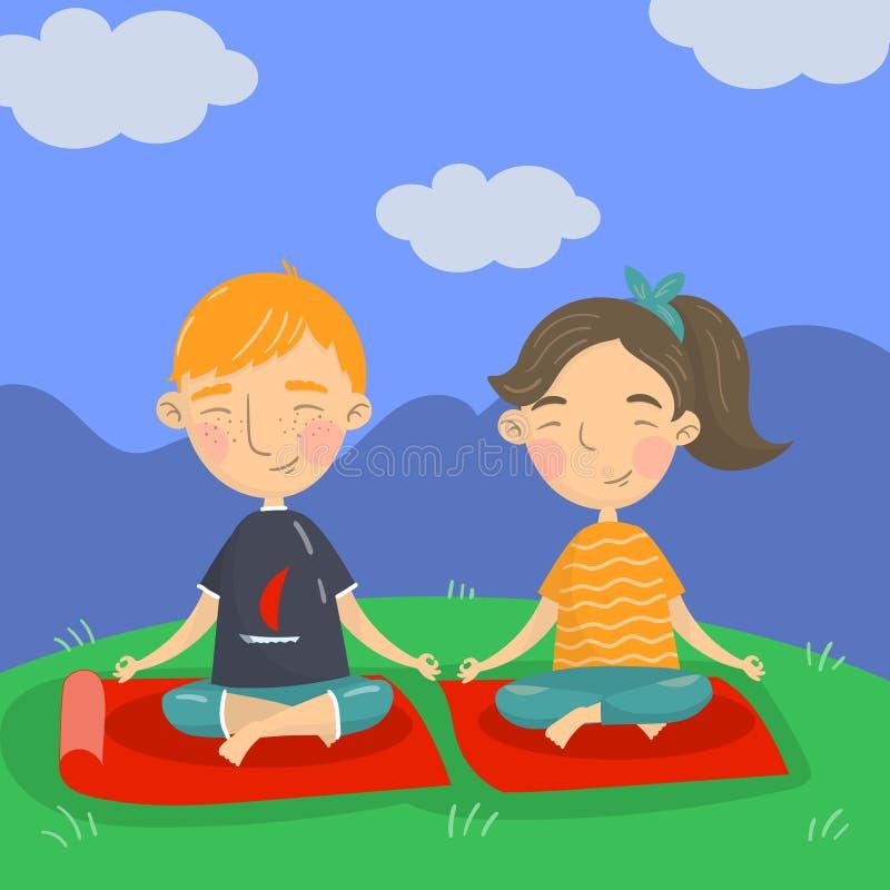Gulligt pojke- och flickasammanträde på golvet, i en position och att meditera för lotusblomma, illustration för ungeyogavektor,  stock illustrationer