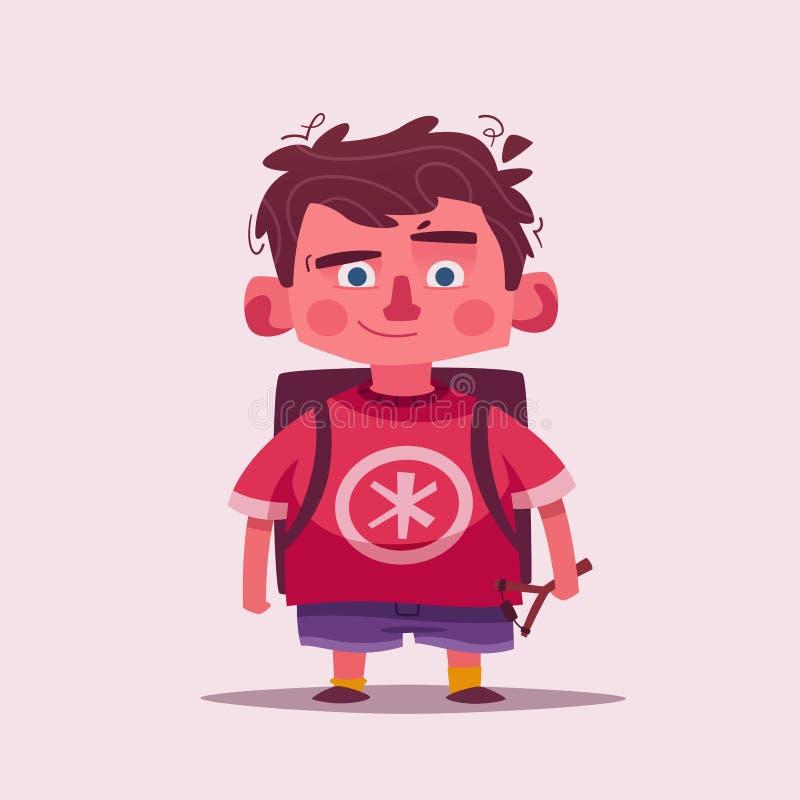 Gulligt pojketecken den främmande tecknad filmkatten flyr illustrationtakvektorn Skolpojke med en katapult stock illustrationer