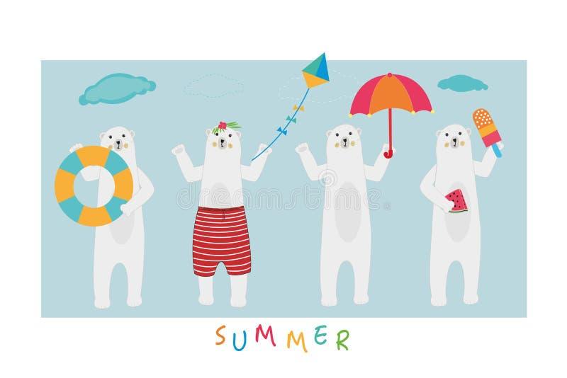 gulligt polart för björn Isbjörn av strandteckenet och den tropiska vektorn bakgrundskorthälsningen låter vara flodsommar lycklig vektor illustrationer