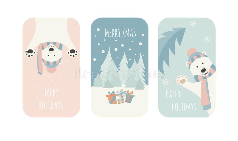 gulligt polart för björn Kort för julferiehälsning, affischdesign stock illustrationer