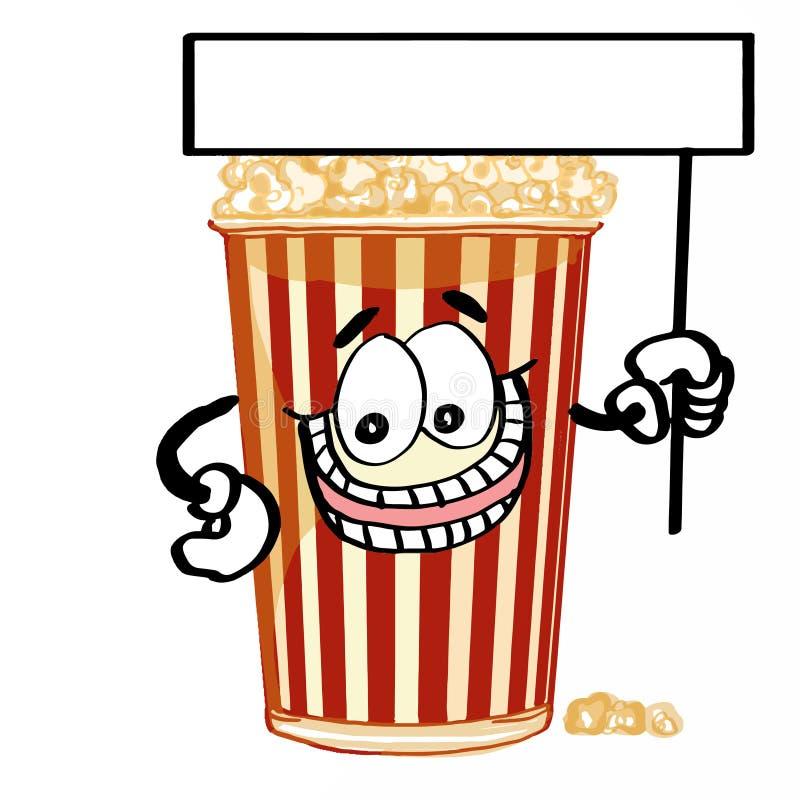 Gulligt popcorn och baner stock illustrationer