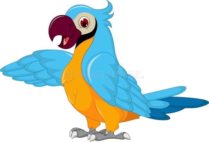 Gulligt posera för papegojatecknad film stock illustrationer