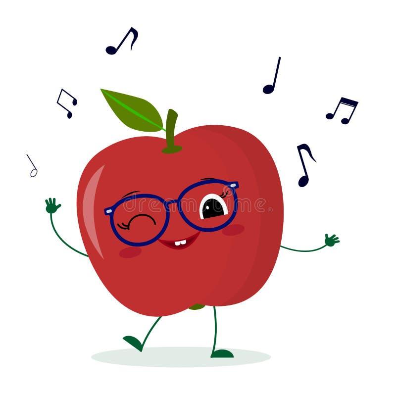 Gulligt rött äppletecknad filmtecken i exponeringsglasdanser till musik Logo mall, design Vektorillustration, en plan stil vektor illustrationer