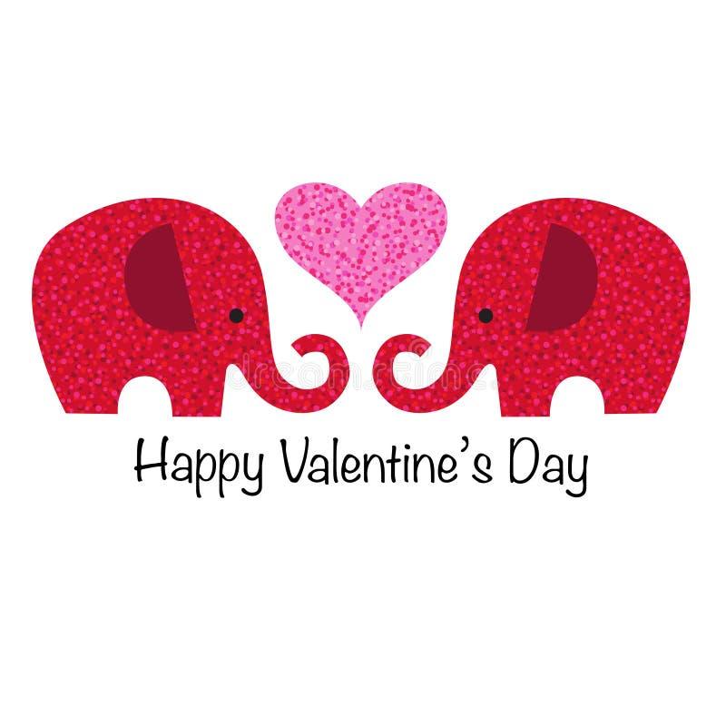 Gulligt rött blänker valentinelefanter med hjärta royaltyfri illustrationer